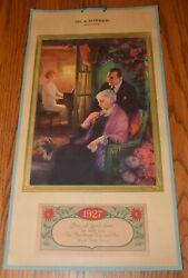 Large 1927 Peters Shoes Calendar My Mother Gal Playing Piano Benson Minnesota
