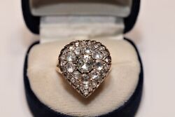 Antique Original 8k Gold Natural Rose Cut Diamond Decorated Heart Style Ring