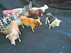 Six 6 Antique Cows And Bulls 4 Britains, Timpo, 1-1950s, Great Pieces