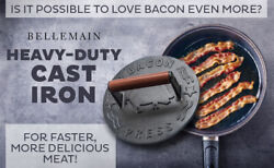 Bellemain Cast Iron Grill Press, Heavy-duty Bacon Press With Wood Handle, 8.5-in
