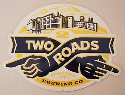 Large 22 Two Roads Brewing Company Logo Tin Bar Sign