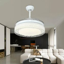 42andrdquo Modern Ceiling Fan W/ Led Light Crystal Chandelier Retractable Blade+remote