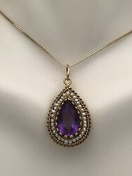 """Estate Vintage 14kt Yellow Gold Amethyst/seed Pearl Pendent/necklace 19"""""""