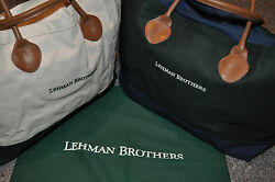 LEHMAN BROTHERS DUAL CANVAS TOTES CARRY ALL BAG LEATHER HANDLES NEW $145.45