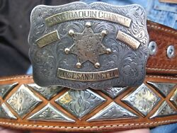 San Joaquin Sheriffs Posse Sterling 10k Western Rodeo Buckle And Concho Belt Rare