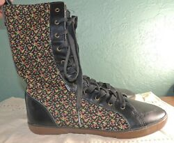 Vans SIZE 10 High Boot Off The Wall Paisley Lace Women Canvas Black Faux Leather