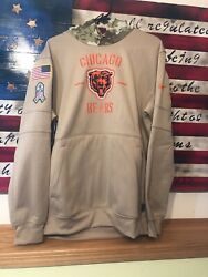 Chicago Bears Mens 2019 Salute To Service Sideline Performance Hoodie Tan🐻🐻 Xl