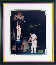 Muhammad Ali Signed Autographed 1996 Olympic Torch 16x20 Photo Framed Le