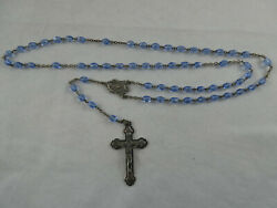Vintage Blue Cut Glass Prayer Beads Mary Miraculous Rosary Italy