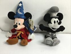 Lot Of 2 Disney Toy Beanie Mickey Fantasia Sorcerer 2000 And Steam Boat Mk 2001