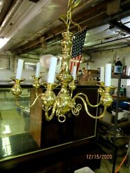 Brass Six Arm Williamsburg Style Ceiling Chandelier - Exc. Cond.