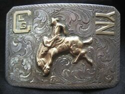Vintage Starr's Sterling 10k Bucking Horse Western Rodeo Buckle - Beautiful Rare