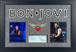 Bon Jovi Signed Autographed Framed Personal Check With 8x10 Photos Psa