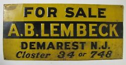 A B Lembeck Demarest New Jersey For Sale Old Real Estate Sign Shank Co Ny