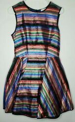 New Milly Balli Metallic Stripe Fit And Flare Dress Size 8 202sb013616 595 Msrp