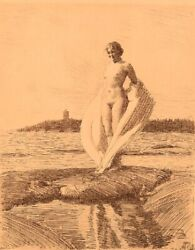 Anders Zorn 1860-1920 Sweden. Facsimile Print. The Swan. Young Naked Woman.