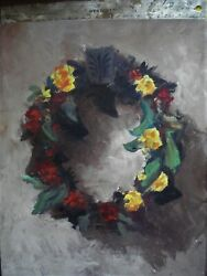 Collectible..2 Holiday Wreath Oil Paintings. Late Known La Artist David Martin..