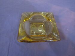 Vintage Amber Glass Cigar Ashtray Square 6 Wide 1 3/4 Tall