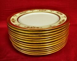 12 And Co. Minton England Gold Encrusted Luncheon Plate Plates - Mint