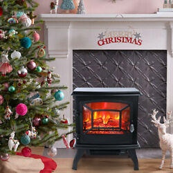 Freestanding Electric Fireplace Heater Stove 1400w W/ Realistic Flame Effect 3d