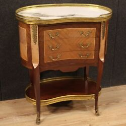 Side Table Furniture Night Stand In Wood Marble Top Antique Style Living Room