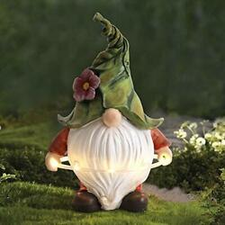 Garden Gnome Statue Resin Gnome Figurine Playing Hula Hoop With Solar Led Lights
