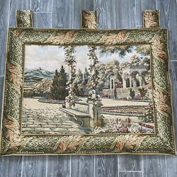 VTG TAPESTRY Wall Hanging Art by Sea Gull French Country Garden Rod Pockets