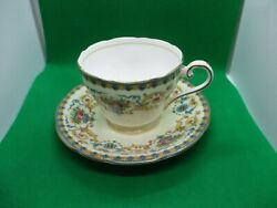 Aynsley Tea Cup And Saucer Yellow And Blue Victorian C770 Fine Bone China