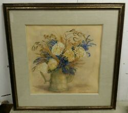 Field Weeds And Mums Watercolor Floral By Rita Trimmer, Wilmington De, 30x30
