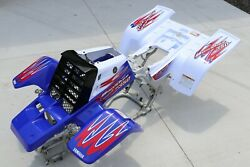 Yamaha Banshee Fenders + Gas Tank Plastic + Grill + Graphics Red White Blue 2010