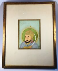 Antique 18th/19th Century Islamic Royalty Figure Watercolor On Paper Manuscript