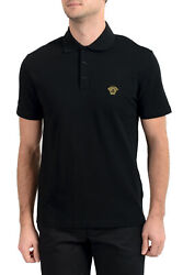 Versace Menand039s Black Logo Embroidered Short Sleeve Polo Shirt Sz S M L Xl