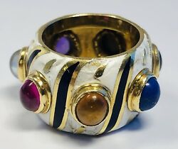Vintage 18k Yellow Gold Enameled Ring With Precious Stones Size 4.5