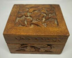 Antique Hand Made Natural Wooden Jewelry Box Engraved Very Old Rare Masterpiece