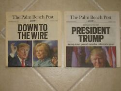 Pres Donald Trump/2 Palm Beach Post Newspapers/2016 Win/mint Cond/collectable