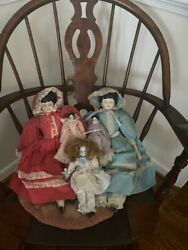 Lot Of Four Antique Dolls Porcelain China German Small Large Black Hair