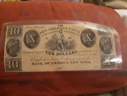 The New Orleans Canal Banking Co 10 Ten Dollar Banknote Original