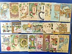 22 Better New Year Antique Postcards Emb And Gold Trim. Posted For Collectors
