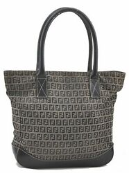 Authentic FENDI Zucchino Tote Bag Canvas Leather Navy B2823 $221.20