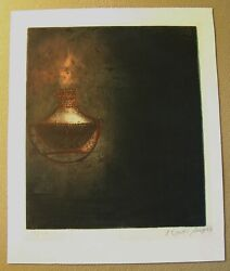 Original Print Oil Lamp Kaiko Moti Signed And Numbered 54/120 1950 To 1969
