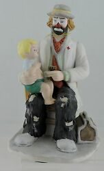 Porcelain Hand Painted Doctor Clown Figurine W/ Stethoscope And Boy Flambro Gift