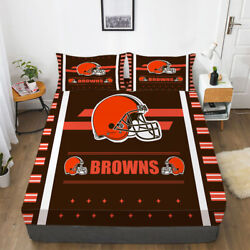 Cleveland Browns Football Bed Fitted Sheet Cover 3pcs Fitted Sheet And Pillowcase
