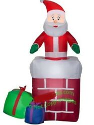 Christmas Santa Animated Chimney Present Gift Inflatable Airblown 5 Ft Gemmy