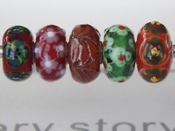 Trollbeads Le 2014 Red Christmas Kit Rare With Glitter Red Swag 5 Beads New