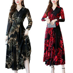 Womens Floral V Neck Long Sleeve Swing Midi Dress Casual Evening Party Dresses $15.00
