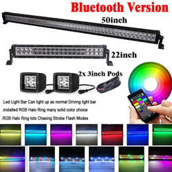 50inch + 22 Led Light Bar Combo + 2x 3 Pods With Rgb Angel Eyes Halo Kit Truck