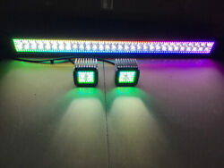 12and039and039-52 Led Light Bar + 2 Pods 3and039and039 Work Chasing Rgb Halo Bluetooth / Rf Remote