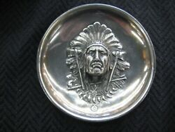 Antique Art Nouveau Unger Brothers Style Indian Chief Coin Tray Sterling Plated