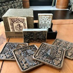 Matina Playing Cards And 4 Coaster Playing Card Set In Carrier 1950's New
