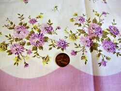Vintage Border Fabric Material PURPLE FLOWERS 40s 50s Quilting Pillowcase Apron
